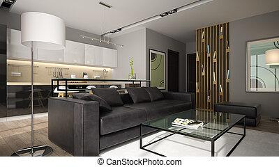 modern, inneneinrichtung, mit, schwarz, sofa, 3d, übertragung