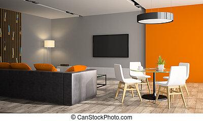 modern, inneneinrichtung, mit, schwarz, sofa, und, orange, wand, 3d, übertragung