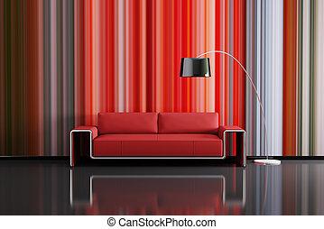 modern, inneneinrichtung, mit, sofa, 3d, render