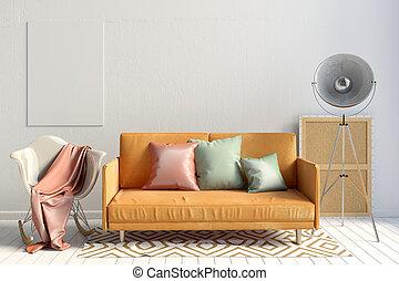 modern, inneneinrichtung, mit, sofa, und, chair., wand, verhöhnen, auf., 3d, illustration.