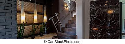 modern, inneneinrichtung, mit, treppe