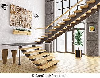 modern, inneneinrichtung, mit, treppenaufgang, 3d, übertragung