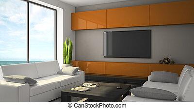 modern, inneneinrichtung, mit, weißes, sofas, und, seaview