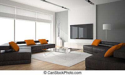modern, inneneinrichtung, mit, zwei, sofas, und, ornge, kissen, 3d, übertragung