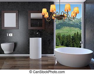modern, inneneinrichtung, von, a, badezimmer, in, a, stadt, apartment., 3d, render
