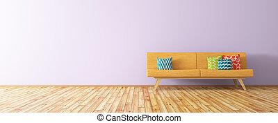 modern, inneneinrichtung, von, wohnzimmer, mit, orange, sofa, 3d, render