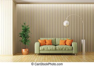 modern, inneneinrichtung, von, wohnzimmer, mit, sofa, 3d, render