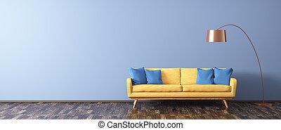modern, inneneinrichtung, von, wohnzimmer, mit, sofa, und, bodenlampe, 3d, übertragung