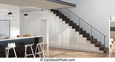 modern, inneneinrichtung, wohnzimmer, treppe