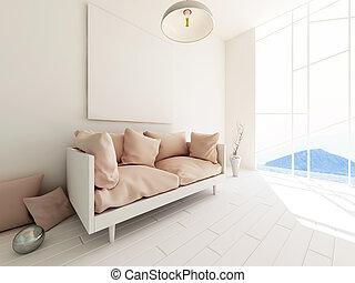 Modern interior 3d