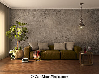 Modern interior. 3d illustration