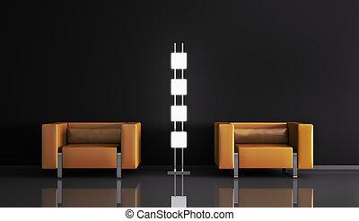 Modern interior 3d - Modern interior with armchairs 3d ...
