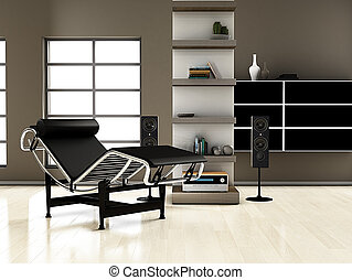 Luxury music room - modern interior (3D render) - Luxury...