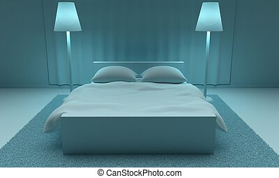 Modern Interior Bedroom. 3d rendering