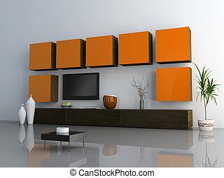 modern interior - design of the modern living interior of...