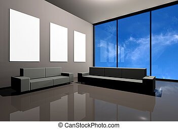 Modern interior - Contemporary corporate gallery with two...