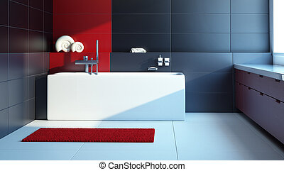 Modern interior design of a bathroom, 3d render