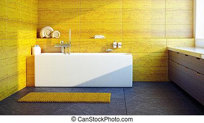 Modern interior design of a bathroom
