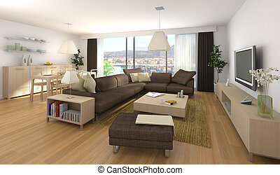 modern interior design of apartment - Interior design scene ...