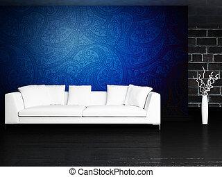 Modern  interior design of living room with a  sofa