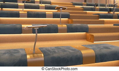 Modern interior empty conference hall blue seats neat rows ...