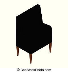 Modern Interior Furniture. Vector isometric black armchair isolated on white background