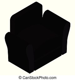 Modern Interior Furniture. Vector isometric black club armchair with armrests isolated on white background