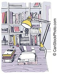 Modern interior home library, bookshelves, hand drawn colorful sketch illustration.