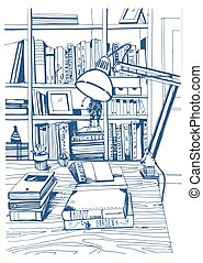 Modern interior home library, bookshelves, hand drawn sketch illustration.