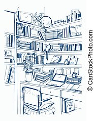 Modern interior home library, bookshelves, workplace hand drawn sketch illustration.