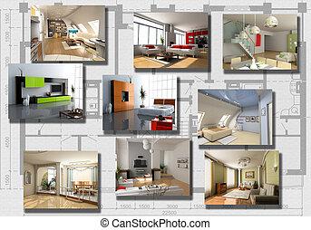 modern interior image set over architecture plan(3D...