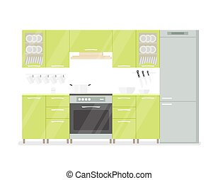Modern interior kitchen room in green tones. Isolated on white background cartoon illustration.