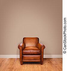 Modern interior - Leather armchair on a wooden floor against...