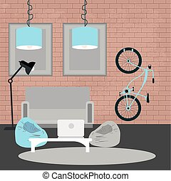 Modern Interior. Living Room in Grunge Style. Room Design with Furniture and Bicycle. Vector illustration