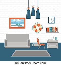 Modern Interior. Living Room. Room Design with Furniture. Vector illustration