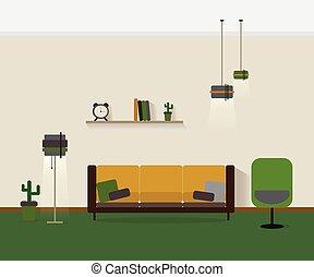 Modern interior living room Vector