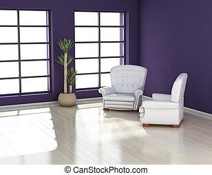 Modern Interior - modern interior (3D render) -  Living Room