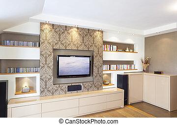 Modern Interior - Modern room with plasma tv