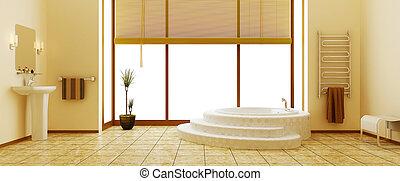 Modern interior of a bathroom (3d rendering)