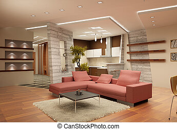 Modern interior of a drawing room in light tones with a kind on kitchen. 3d render