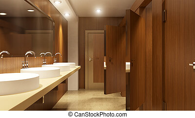 Modern interior of a Public restroom in a city apartment. 3D...