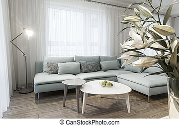 Modern interior of a small private apartment, sitting room,...