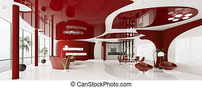 Modern interior of apartment panorama 3d render