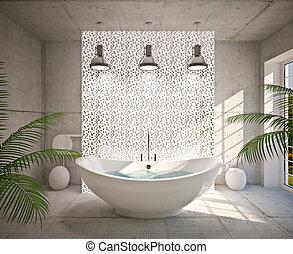 Modern interior of bathroom - Modern interior bathroom in...