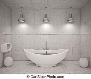 Modern interior of bathroom with concret wool