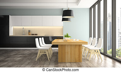 Modern interior of dining room with white chairs 3D...