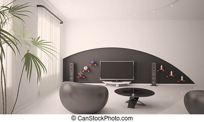 Modern interior of living room 3d animaton