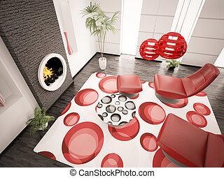 Modern interior of living room 3d render