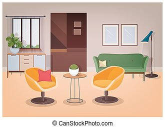 Modern interior of living room full of comfortable furniture...