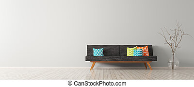 Modern interior of living room with black sofa 3d render